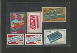 6 étiquettes Boites D´allumettes Publicité Pour Papiers à Rouler - Matchbox Labels