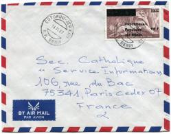 BENIN LETTRE PAR AVION DEPART COTONOU-JERICHO 14-11-89 R.P. BENIN POUR LA FRANCE - Bénin – Dahomey (1960-...)