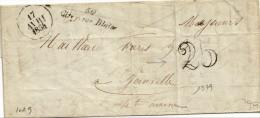 1854. LAC De 1854 - Cursive Linéaire 50 Cirey Sur Blaise (HAUTE MARNE) - Taxe 25décimes - Postmark Collection (Covers)