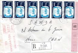 Lettre Recommandée - 1985 - 6 Timbres CNET N° 2317 + étiquette De Guichet S1 - Variétés: 1980-89 Oblitérés