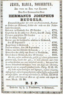 OIRSBEEK - POSTEL - HELMOND - RECKHEIM  Doodsprentje E.H. BEUGELS Hermanus °1771 En +1851 - Devotion Images