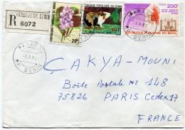 BENIN LETTRE RECOMMANDEE DEPART PARAKOU 3-8-82 RP. BENIN POUR LA FRANCE - Bénin – Dahomey (1960-...)