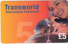 UK - Satellite Dish, Transworld Prepaid Card 5 Pounds, Used - Raumfahrt