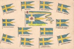 CPA SWEDEN SVERIGE ZWEDEN KUNGSFLAGGAN DRAPEAU FLAG FLAGGE AMIRAL VICE AMIRAL FLAGGA - Suède
