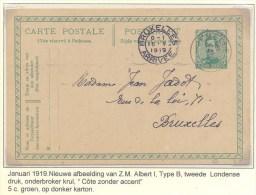 Belgie 1919  Postal Stationery CP - Postkaart N° 52B  Jemelle - Brussel Fine Used - Stamped Stationery