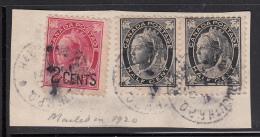 Canada Used Scott #66, #87 On Piece RPO Cancel: Halifax & Yarmouth R.P.O. 1920 - 1851-1902 Règne De Victoria