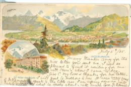 1905 Switzerland Gruss Aus Style Interlaken Multiview Pc Panorama & Hotel Des Alpes, Used To UK - BE Berne