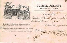 *E305 CUBA SPAIN  ESPAÑA QUINTA DEL REY MEDICINE 1848 ENGRAVING INVOICE - Historical Documents