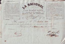 *E376 CUBA SPAIN INVOICE 1857 LA NACIONAL MEDICINE ESPAÑA ENGRAVING INVOICE - Documents Historiques
