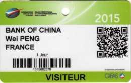 Badge Visiteur : Salon International De L´Aéronautique Et De L´Espace Paris Le Bourget 2015 - Autres Collections