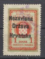 NDH 1941. Croatia, Nazi, Administrative Stamp, Revenue, Tax Stamp, Overprinted Coat Of Arm, 1d - Kroatien