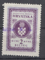 NDH 1941. Croatia, Nazi, Administrative Stamp, Revenue, Tax Stamp, Coat Of Arm, 2k - Kroatien