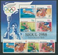 Neuseeland 1988 Olympiade 1033/36 Block 16 Postfrisch (G5098)) - Nouvelle-Zélande