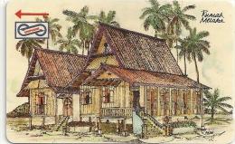 Malaysia (Uniphonekad) - Rumah Melaka, Houses, 22MSAB, 1992, 200.000ex, Used - Malaysia