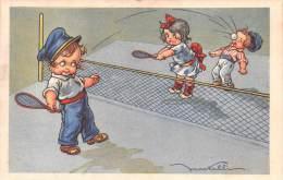 """03727 """"TENNIS - BAMBINI CHE GIOCANO A TENNIS  - ILLUSTRATORE V. CASTELLI"""". CART. ILLUSTR.  ORIG.  NON SPEDITA. - Humorkaarten"""