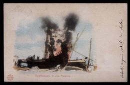CALAFATAGGIO DI UNA PARANZA(BARCA). SPEDITA NEL 1906 DA ANCONA - Chiatte, Barconi