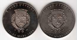 Lot De 2 Pièces : 1 Euro & 3 Euro D' Evreux 1996 Monnaie De Paris - Euros Of The Cities