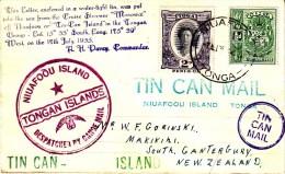 Tonga 1935 Tin Can Mail Cover - Tonga (...-1970)