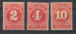 Chili  Lot Taxes  N°s  35*,36*,37*     (1898) - Chili