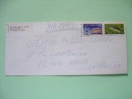 USA 1986 Cover To Liechtenstein - Fish Bass Public Hospitals Road Sign - Etats-Unis