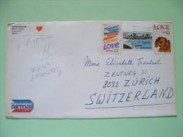 USA 1986 Cover To Switzerland - Love - Dog - Plane - Etats-Unis
