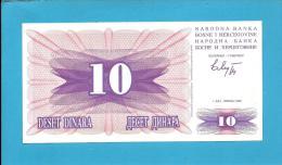 BOSNIA & HERZEGIVINA - 10 DINARA - 1992 - Pick 10 - UNC. -  Prefix GF - Narodna Banka Bosne I Hercegovine - Bosnia Erzegovina