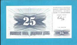 BOSNIA & HERZEGIVINA - 25 DINARA - 1992 - Pick 11 - UNC. -  Prefix CK - Narodna Banka Bosne I Hercegovine - Bosnia Y Herzegovina