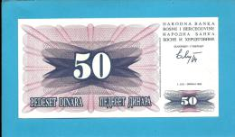 BOSNIA & HERZEGIVINA - 50 DINARA - 1992 - Pick 12 - UNC. -  Prefix BE - Narodna Banka Bosne I Hercegovine - Bosnia And Herzegovina