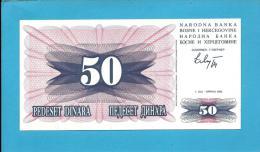 BOSNIA & HERZEGIVINA - 50 DINARA - 1992 - Pick 12 - UNC. -  Prefix FD - Narodna Banka Bosne I Hercegovine - Bosnia And Herzegovina