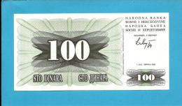 BOSNIA & HERZEGIVINA - 100 DINARA - 1992 - Pick 13 - UNC. -  Prefix FJ - Narodna Banka Bosne I Hercegovine - Bosnia And Herzegovina