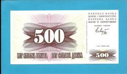 BOSNIA & HERZEGIVINA - 500 DINARA - 1992 - Pick 14 - UNC. -  Prefix DB - Narodna Banka Bosne I Hercegovine - Bosnia Erzegovina