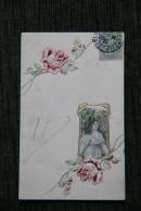 Femme, Roses, Carte Gaifrée , Style Art Déco - Femmes