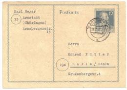 Deutschland Alliierte Besetzung 1947 Postkarte Ganzsache P965 P 965 Arnstadt 21.7.47 Nach Halle / Saale - Gemeinschaftsausgaben