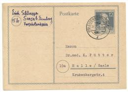 Deutschland Alliierte Besetzung 1947 Postkarte Ganzsache P965 P 965 Eisenberg 28.7.47 Nach Halle / Saale - Gemeinschaftsausgaben