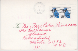 United States  1995  Bird Stamped Mailed Card To Great Britain  # 85223 - Songbirds & Tree Dwellers