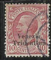 TRENTINO ALTO ADIGE 1918 SOPRASTAMPATO D´ITALIA ITALY OVERPRINTED CENT. 10 C USATO USED OBLITERE´ - 8. Occupazione 1a Guerra