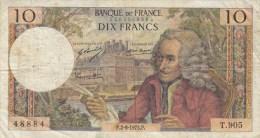 Billet 10 F Voltaire Du 2-8-1973 Alph. T.905 - 1962-1997 ''Francs''