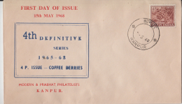 India  1968 - 4P Coffee Berries  KANPUR  Private  FDC   # 66056  Inde  Indien - FDC