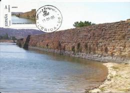 Spain Maxicard – España Tarjeta Máxima Con Sello Personalizado La Presa Romana De Proserpina De Mérida - Monumenti