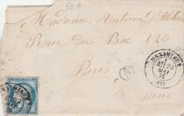 LAC Yvert  60A Cachet MEXIMIEUX Ain 29/5/1876 Boite Rurale Pollet Pour Paris - 1849-1876: Période Classique