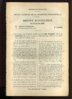 - MACHINES MARINES ET PROPULSEURS . BREVET D´INVENTION DE 1902 . - Technics & Instruments