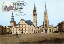 BELGIQUE. N°1764 De 1975 Sur Carte Maximum. Eglise De Saint-Trond. - Churches & Cathedrals