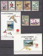 Guinea 1965,7V+2Blocks,olympic Games Tokio,olympische Spelen,sport,birds,vogels,oiseaux, MNH/Postfris(L1645) - Zomer 1964: Tokyo