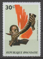 Rwanda 1973 - Strumenti Musicali Africani African Musical Instruments Corno Horn MNH ** - Rwanda