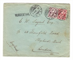 Schweiz Heimat AG MURGENTHAL Balkenstempel Brief 19.10.1905 Ambulant #5 Nach London - 1882-1906 Armoiries, Helvetia Debout & UPU