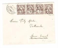Schweiz Brief 27.3.1909 Bellevue Nach Bern Mit 4 X Zu#81 - 1882-1906 Armoiries, Helvetia Debout & UPU