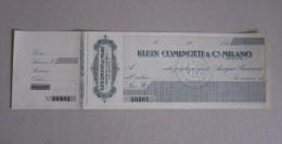 """Assegno Bancario """"Klein Cominotti & C. MILANO"""" - Fatture & Documenti Commerciali"""