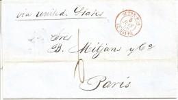 """LAC LA HAVANE A  PARIS PAR LE HAVRE DU 29/03/1856 - CACHET ROUGE """"OUTREMER LE HAVRE """" - 1849-1876: Periodo Classico"""