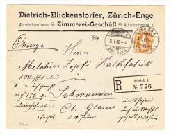Schweiz 9.1.1908 Zürich R-Brief Nach Schwanden - 1882-1906 Stemmi, Helvetia Verticalmente & UPU