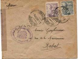Maroc Morocco Marruecos Espagne Spain Lettre Carta Cover Censure Censura 1942 Irun Rabat - Marokko (1891-1956)